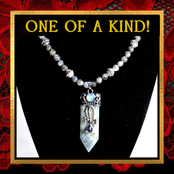 Shiva68 Jewelry - Gray Labradorite Gemstone Necklace #351